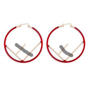 Geometrischer Kreis F Form Bandohrringe übertrieben Buchstaben F große Ohrringe Geschenk Modeschmuck Großhandel Italian Charms