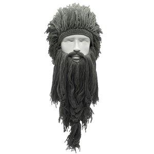 Men Women Barbarian Viking Handmade Knit Wig Hat with Detachable Long Fake Beard Funny Crazy Halloween Cosplay Warm Beanie Cap