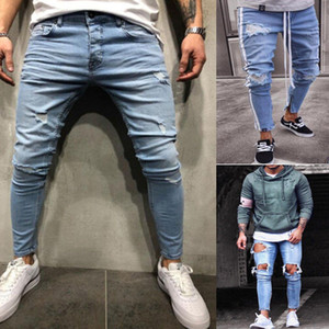 Plus Size New Men's Skinny Jeans Rip Slim Stretchy Denim Distress Frayed Fashion Rose Embroidery Jeans Stylish Boy Streetwear