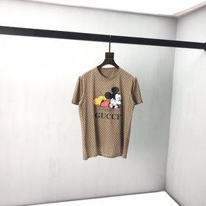 2020 Itália Primavera e no Verão carta de corpo inteiro impressão do rato designer de moda de alta qualidade T-shirt dos homens impressão T-shirt de algodão respirável