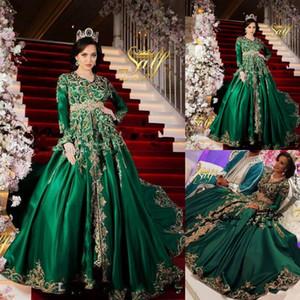 2020 Muslim Emerald Green muslimische Abendkleider mit Langarm Sparkly Goldspitze Marokkanische Prinzessinnen Romeo Plus Size Abendkleid
