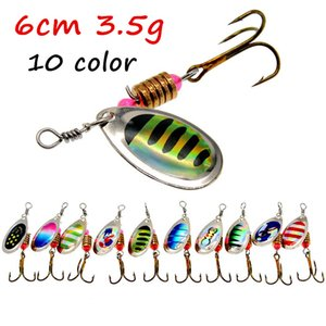 10pcs / sürü 10 Renkler Karışık Spinner Metal Yemler Yemler 6 # Balıkçılık Kancalar BL_14