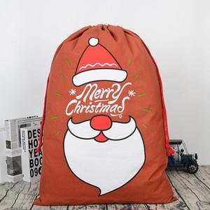مصمم حقائب هدايا عيد الميلاد الكبيرة الثقيلة العضوية حقيبة قماش سانتا كيس الرباط حقيبة مع حيوانات الرنة سانتا كلوز كيس حقائب للأطفال