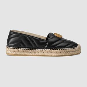 2019ss womens fashion couro preto espadrille deslizamento em sapatos causais com 10mm Corda sola de borracha coberta