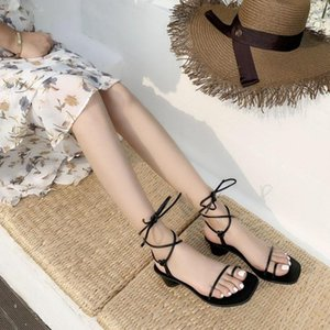Goddess2019 Toe Set Ins Square Fasciola Bandagem Grosseiro Com Sandálias Sapatos de Mulher