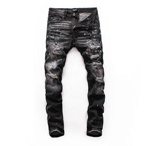 20SS новые джинсы моды горячей бренд мужской перфорированные джинсы дизайнер тенденции мужской моды тощий женщин джинсы Four Seasons H103