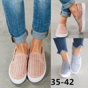 Las nuevas mujeres de las alpargatas formadores de gran tamaño de color sólido zapatos planos redondos huecos zapatos de lona de los zapatos respirables ocasionales del tamaño 35-42