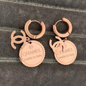 Nunca desaparecer luxo mulheres em torno do sexo feminino Rose ouro cor do casamento carta brincos de argola para as mulheres do amante da moda jóias dom