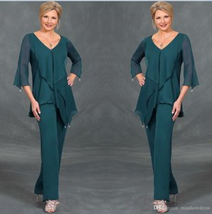 2020 Dark Green Chiffon Mother Of The Bride Suits Pants V Neck Long Sleeves Irregular Plus Size Floor Length Mothers Suits Custom Made