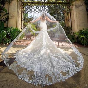 Custom Made Lüks 4M Gelin Duvağı ile Dantel Aplike Kenar Uzun Katedrali Uzunluğu Veils Bir Katman Tül Custom Made Bridal Veil