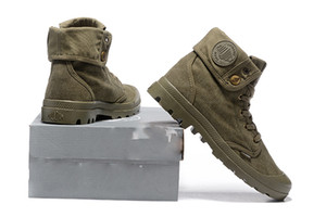 Hot Sale-Pallabrouse Army green Turn help Men Military Ankle Casual Shoes Men Casual Shoes Eur Size 39-45