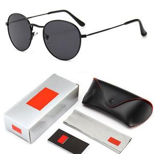 Оптово Круглый Урожай Sunglasse Мужчины Марка Дизайнер зеркало объектива очки для женщин Унисекс вождения солнцезащитные очки женщина с логотипом и коробкой