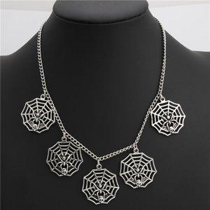 1pc Silber-Spinnen-Netz-Charme-Anhänger kurze Halskette Halloween-Hals für Frauen Handgemachter Schmuck E2021
