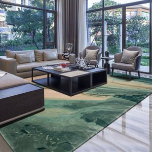 100% Neuseeland Wolle Handmade Bereich Teppich in der grünen Farbe im amerikanischen Stil Ölgemälde Dekoration Villa Teppich