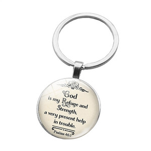 God Is in myrefuge and strength a very present help in the trouble Bible Quote Faith Keychain Keyring Bible Verse key chain