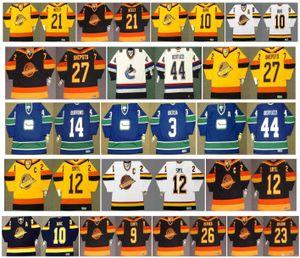 Vintage Vancouver Canucks Jersey 14 Alexandre Burrows 3 Kevin Bieksa 44 Todd Bertuzzi 27 Harold Snepsts 12 Stan Smyl leva Neely retro del hockey