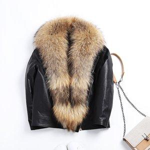 Leather Jacket Women Sheepskin Genuine Leather Winter Coat Women Raccoon Fur Parka Duck Down Coat Chaqueta Mujer M85 YY775