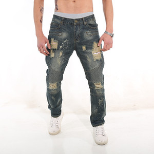 2020 spring and summer clothing new mens hole casual jeans denim pants retro old stitching denim pants