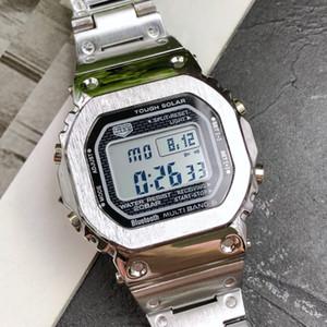 Relojes Hombre Tam Çelik Siyah Gümüş Altın Saatler Erkekler Dijital Spor Saati LED Saatler Adam Erkekler için Elektronik İzle Spor Saatler