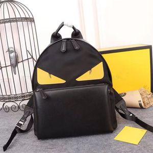 F HOME haute qualité sac à dos imperméable mode femme toile noir et dames sac en cuir unisexe yeux jaunes sac à dos en cuir importées