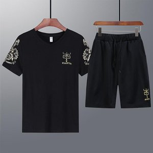 Быстросохнущие спортивные костюмы V-образный вырез летом мужские работают спортивные рубашки случайные Ice Шелковый охлаждаться с короткими рукавами одежды костюм