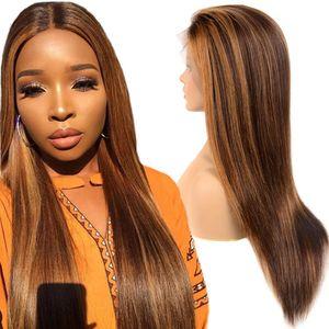 150 Плотность Pre щипковых Длинные Ombre Браун перуанский прямо Объемная волна фронта шнурка парики 13x4 Remy человеческих волос Парики Цвет 4 # / 30 # Может быть окрашенная