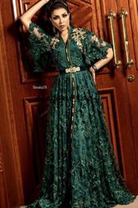 2019 Hunter Dark Green Vestidos de noche formales con manga larga Dubai árabe musulmán Kaftan Abaya 3D encaje floral con cuentas Ocasión vestido de fiesta