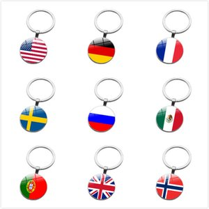 United States France Mexico United Kingdom flag keychain Glamour Glass Dome Keyring Women Men Fashion Accessories Keychain Souvenir Gifts