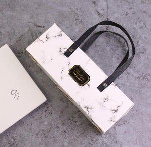 상자 25 포장 핸들 케이크 상자 베이커리와 우아한 대리석 디자인 종이 상자 * 9.3 * 약 8.9cm 100PCS / 많은 SN439
