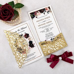 100pcs Custom Gold Color Glitter Laser Cut Hollow Wedding Invitations Pearlized Paper with Envelopes for Wedding, Quinceanera