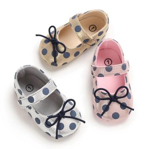 0-18 Months Newborn Baby Girl Shoes Toddler Girl Princess Baby Shoes Bowknot Polka Dot Flower Soft-Soled Cribsc5c#