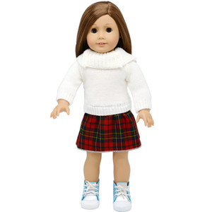 18 inç Bebek Giysileri Aksesuarları sweaterone parça Elbise için çocuk parti hediye oyuncaklar-18 inç Amerikan Kız bebek giysileri