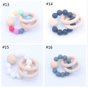 16 Renkler Çocuk Ahşap Bilezikler Bebek Silikon Bebek Ahşap Boncuk Dişlikleri Boncuk Handmake Diş Çıkarma Bebek Oyuncakları