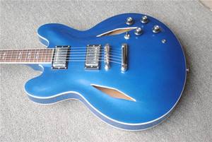 Custom Shop Dave Grohl DG 335 Metallic Blue Semi Hollow Body Jazz Electric Guitar Guitarra Dual Diamond Holes Split Diamond White MOP Inlay