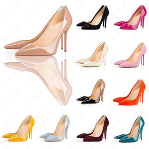 2020 avec la boîte nouveau So Styles Mode 8cm 10cm 12cm Hauts talons Chaussures Rouge Bas Nu Couleur cuir véritable point Toe Pompes en caoutchouc