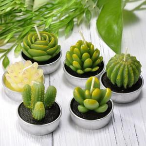 6pcs 12pcs Yapay Sulu Cactus Mum İçin Doğum Günü Partisi Düğün Bayramı Tatil Dekorasyon ev dekorasyonu Y200531 Bitkiler