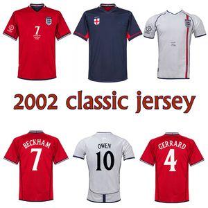 2002 Beckham Scholes Owen Maillot de football FOWLER J. COLE Heskey FERDINAND Gerrard classique millésime 2002 blanc maison de coupe du monde de football shirt
