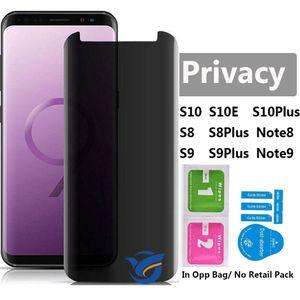 Anti Spay Vidro Para Samsung Galaxy S10 S10Plus S9Plus S8 S8Plus Note8 Note9 5D Curvo Borda Privacidade Vidro Temperado Protetor de Tela Do Telefone