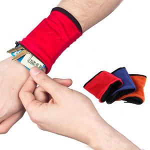Fleece Wallet Wrist Band Zipper Wallet pour le sport en plein air Voyage Randonnée Clé Key Case Change sueur-absorbant Wrist Band Storage Bags XD21092