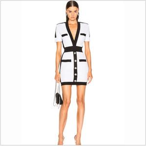Hot Style Persönlichkeit Marke Neue Top Qualität Original Design Frauen Metallschnallen Taille-High Kleid Slim V-Ausschnitt Ol Stil Stretchendkleid