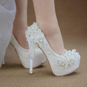 Bridesmaid shoes wedding dress lace white sweet flower tassel female womens shoes 6cm 8cm 11cm 14cm high heel Big size 43 Y200702