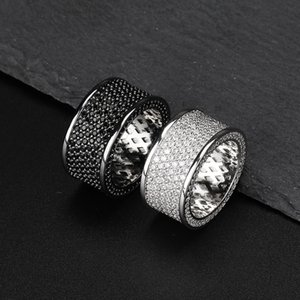 Cubic Zirconia Bling Iced Out Round Finger Ring Anillos Hip Hop Hombres Rock Jewelry Negro Plata