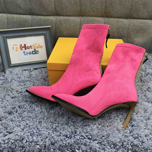 Розовые вязаные носки сапоги женские сапоги новые топы вязаные пинетки мода зимние вязаные пинетки оптом новая коллекция