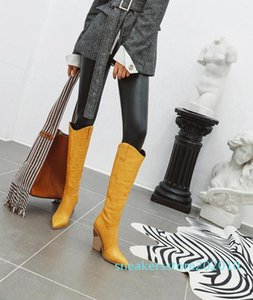 Black Yellow White Knee High Boots Western Cowboy Boots for Women Long Winter Pointed Toe Cowgirl wedges Motorcycle s10