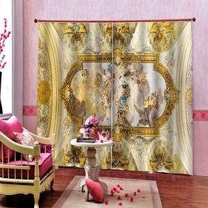 cortinas europeus janela anjo para quartos de crianças de estar quarto quarto cortinas Photo 3D imprimir pintura