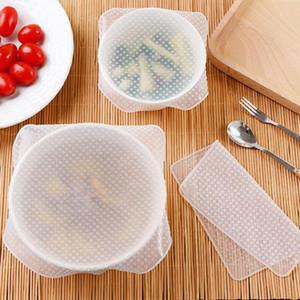 4 pçs / set Reutilizável Silicone Saran Envoltório Selo Alimentos Frescos Mantendo Envoltório Tampa Da Tampa Estiramento de Vácuo Food Wrap Sacos De Plástico Ferramentas de Cozinha