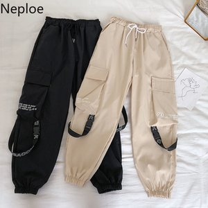 Neploe Hip Hop Streetwear Kadınlar Kargo Pantolon Yüksek Bel Şerit Pantolon Kadın Gevşek Tüm Maç 2019 New Fashion 90230 Cepler