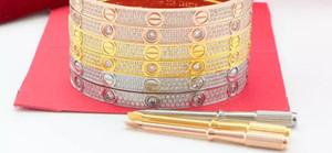 Pulseras de amante con brazalete completo de oro rosa y plata con diamante CZ y destornillador Pulsera para los amantes Joyería