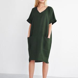 Bayan Modelleri Artı boyutu Kadın Giyim 2019 Yaz Kadın Kısa Kollu Gevşek Katı Gömlek Şık Pamuk Keten Elbise Plus Size Cepler