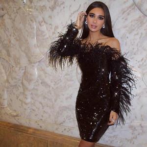 2020 새로운 스파클링 블랙 스팽글 이브닝 드레스 깃털을 가진 섹시한 긴 소매 파티 드레스 짧은 칵테일 드레스 오프 숄더 정장 드레스